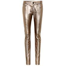 Low-Rise Jeans aus Metallic-Leder