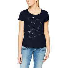 TOM TAILOR Denim Damen T-Shirt Tee with Print, Blau (Real Navy Blue 6593), 36 (Herstellergröße: S)