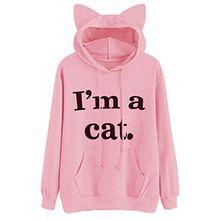 Moonuy Frauen Langarmshirts Pullover, Damen Katze Langarm Kapuzenpulli Kapuzenpulli Kapuzenjacke Winterjacke Pullover Baumwollspandex Tops Tierdruck Bluse Fashion New Style Sweatshirt (XL, Rosa)