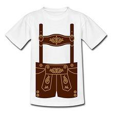 Spreadshirt Lederhose Bayern Oktoberfest Kinder T-Shirt, 122/128 (7-8 Jahre), Weiß