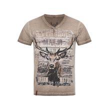Trachtenshirt Braun von Marjo Trachten T-Shirts braun Herren