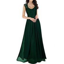 Miusol Damen Ärmellos V-Ausschnitt Spitzenkleid Brautjungfer Cocktailkleid Chiffon Faltenrock Langes Kleid Dunkelgrün M