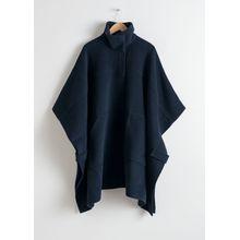 Wool Blend Workwear Cape - Blue