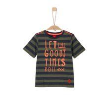 S.Oliver Junior Slim: Streifenshirt mit Wording nachtblau / khaki / orange
