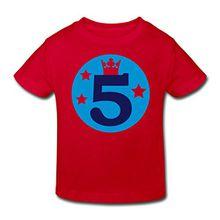 Spreadshirt 5. Geburtstag Kinder Bio-T-Shirt, 110/116 (5-6 Jahre), Rot