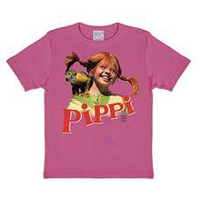 LOGOSHIRT - Pippi Langstrumpf T-Shirt Kinder Mädchen - Äffchen Herr Nilsson - pink - Lizenziertes Originaldesign, Größe 122/134, 7-9 Jahre, pink, 122