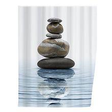 Wenko 20961100 Duschvorhang Meditation - waschbar, mit 12 Duschvorhangringen, 100% Polyester, Mehrfarbig