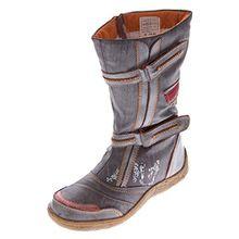Damen Leder Winter Stiefel Comfort Boots TMA 14411 Schuhe Braun gefüttert Gr. 37