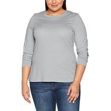 Ulla Popken Große Größen Damen Basic Langarmshirt Rundhals Grau (Grau 11), 52 (Herstellergröße: 50+)