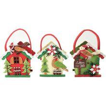 """3- tlg. Geschenktaschen Set """"Weihnachtliche Vogelwelt"""" grün/weiß"""