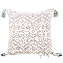 Eyes of India grau grau Dhurrie bedruckt bunt dekoratives Sofa Kissen Sofa Kissenbezug Deckel Boho unkonventionell Indisch - 16 X 16 in. (40 X 40 cm)