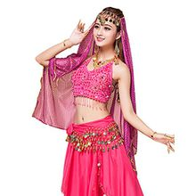 YiJee Damen Belly Dance Tops + Gürtel + Hosen + Schleier Bauchtanz Set Rose 1