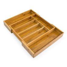 Bambus Besteckkasten ausziehbar 37x31-48,5 cm beige