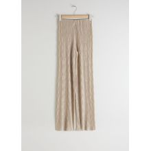 Plissé Pleated Fitted Trousers - Beige