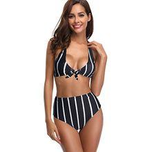 Lever Damen Bikini Retro Gestreift High Waist Bügellos Bikini Streifen 40(L)