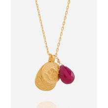 Satya Halskette mit Om, Baum des Lebens und Rubin - Gold