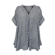 FEITONG Damen Sommer Beiläufige Kariertes Hemd Langarm Bluse T-Shirt Tops (48-50)