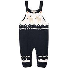 ZOEREA Unisex Baby LatzHose Romper Bib Pants Outfits Hosenträger Gestrickt Weihnachten Hirsch Schultergurt Baumwoll Sweatshirt Baby Kinder Overalls für 6-24 Monate