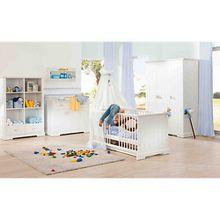 Komplett Kinderzimmer COTTAGE, 3-tlg. (Kinderbett, Wickelkommode und 3-türiger Kleiderschrank) weiß