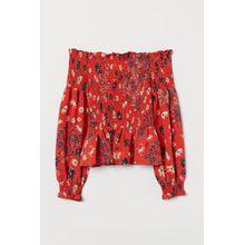 H & M - Gesmokte Off-Shoulder-Bluse - Orange - Damen