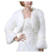 Icegrey Damen Pelz Bolero Braut Hochzeit Fell Jacke aus künstlichem Fuchspelz Weiß