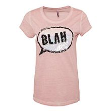 Sublevel Damen T-Shirt mit Wendepailletten | Basic Fun-Shirt im Vintage Look Rose L