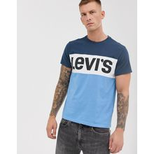 Levi's - T-Shirt mit Rundhalsausschnitt und Farbblock-Logo - Blau