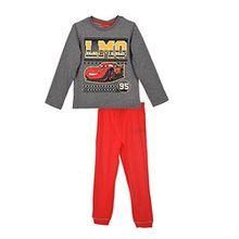 Disney Cars Lightning McQueen (2145) Kinder Pyjama aus Baumwolle, Schlafanzug Set mit langarm Shirt und langer Hose, Grau-Rot, Gr. 104