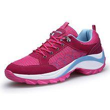 KOUDYEN Damen Mesh Sportschuhe Trendfarben Runners Schnür Sneakers Laufschuhe Fitness,XZ006-pink-EU37