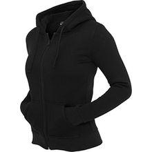 Modische Damen Sweatjacke mit Kapuze in vielen Farben, Farbe:black;Größe:M