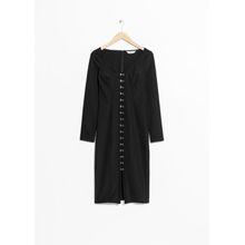 Hook & Eye Placket Dress - Black