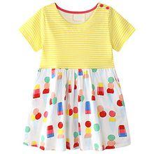 Kaily Mädchen Baumwolle Freizeit kurze Ärmel Streifen T-shirt Kleid (6735,7T)