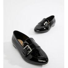 London Rebel - Spitze, flache Schuhe mit weiter Passform - Schwarz