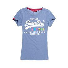 Superdry Damen T-Shirt Premium Goods Rainbow Tee Bleu (50) 34