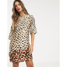 Mango - Etuikleid mit Leopardenmuster - Mehrfarbig