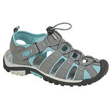 PDQ Damen Sport Sandalen mit Toggel und Klettverschluss (41 EU) (Grau/Jade)