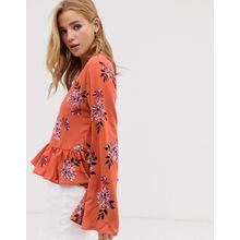 Glamorous - Geblümte Bluse mit Rüschensaum - Mehrfarbig