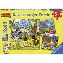 3er Set Puzzle, je 49 Teile, 21x21 cm, Abenteuer mit Mauseschlau und Bärenstark
