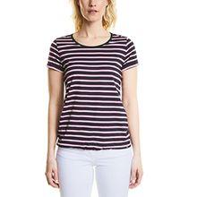 Cecil Damen T-Shirt 311998 Sarina, Mehrfarbig (Deep Blue 30128), X-Large