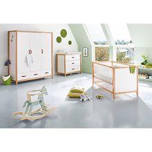 Komplett Kinderzimmer Calimero, breit und groß, 3-tlg. (Kinderbett 70 x 140cm, breite Wickelkommode und Kleiderschrank 3-türig), weiß lackiert, Buche