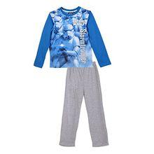 Star Wars Kinder Pyjama (2168) Schlafanzug Set für Jungen und Mädchen, langarm Oberteil und Schlafanzughose mit Star Wars Motiven, blau/grau, Gr. 140