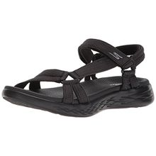 Skechers Damen on-The-Go 600-Brilliancy Knöchelriemchen Sandalen, Schwarz (Black), 38 EU