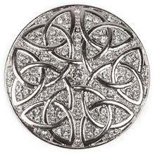 styleBREAKER runder Magnet Schmuck Anhänger Strass besetzt mit keltischem Knoten Ornament Muster für Schals, Tücher oder Ponchos, Brosche, Damen 05050038, Farbe:Silber