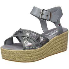Hilfiger Denim Damen Metallic Flatform Sandal Plateausandalen, Silber (Silver 000), 39 EU
