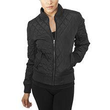 Urban Classics Damen Jacke Ladies Diamond Quilt Nylon Jacket, Schwarz (Black 7), 42 (Herstellergröße: XL)
