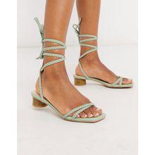 RAID – Felicity – Salbeigrüne Sandalen mit hohem Absatz und geflochtenem Design