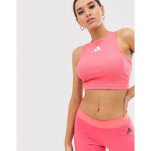 adidas - Training - Kurzes Oberteil in Rosa mit Rückenausschnitt - Rosa