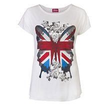 Love Lola Damen T-Shirt, Geblümt Gr. 40, weiß