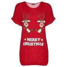 Be Jealous Damen Weihnachten Schneemann tanzende Rentier Weihnachten übergroßer Baggy-Stil T-Shirt UK Übergröße 8-22 - tanzende Rentier rot, S/M (UK 8/10)