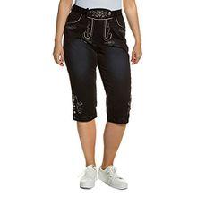 Ulla Popken Damen große Größen bis 50 | Hose in Lederoptik | Trachtenhose in Baumwollstretch | Stickereien, Zierknöpfe | schwarz 44 700213 10-44